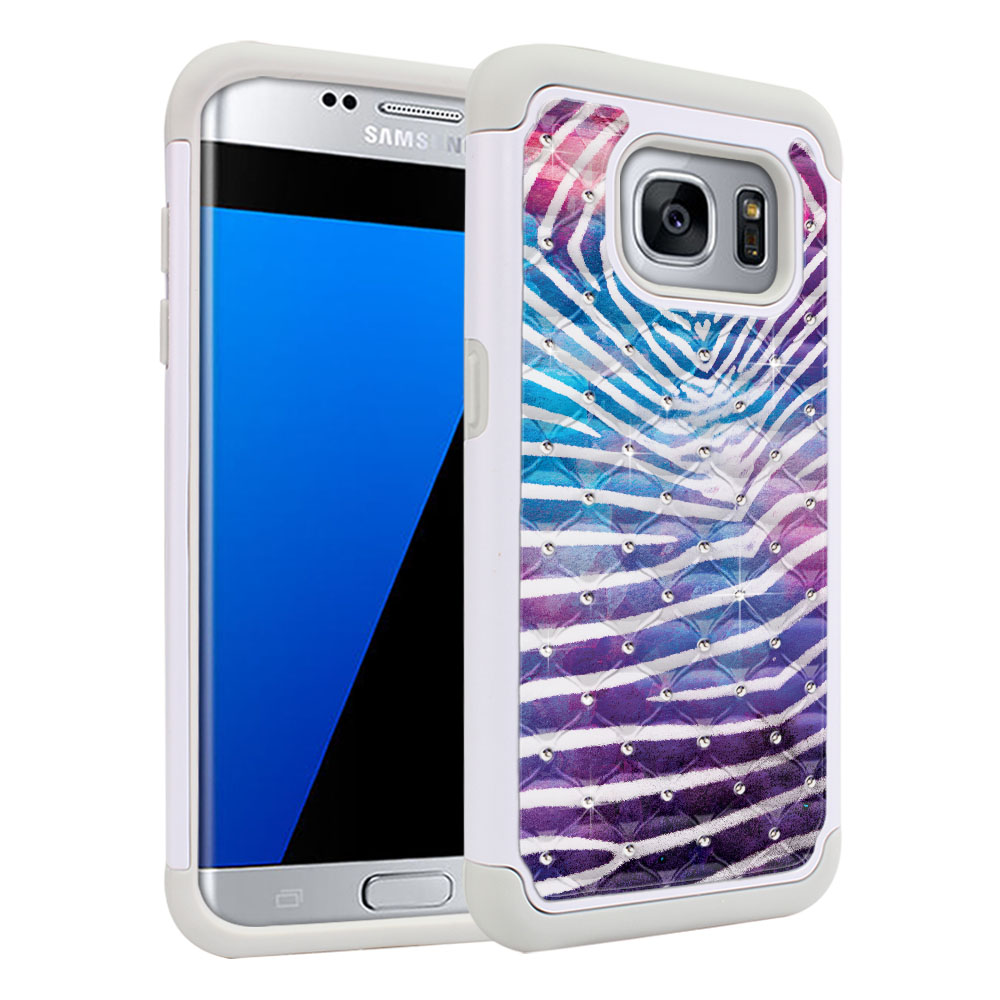 Samsung Galaxy S7 Edge G935 Hybrid Total Defense Some Rhinestones Zebra Stripes White Protector Cover Case