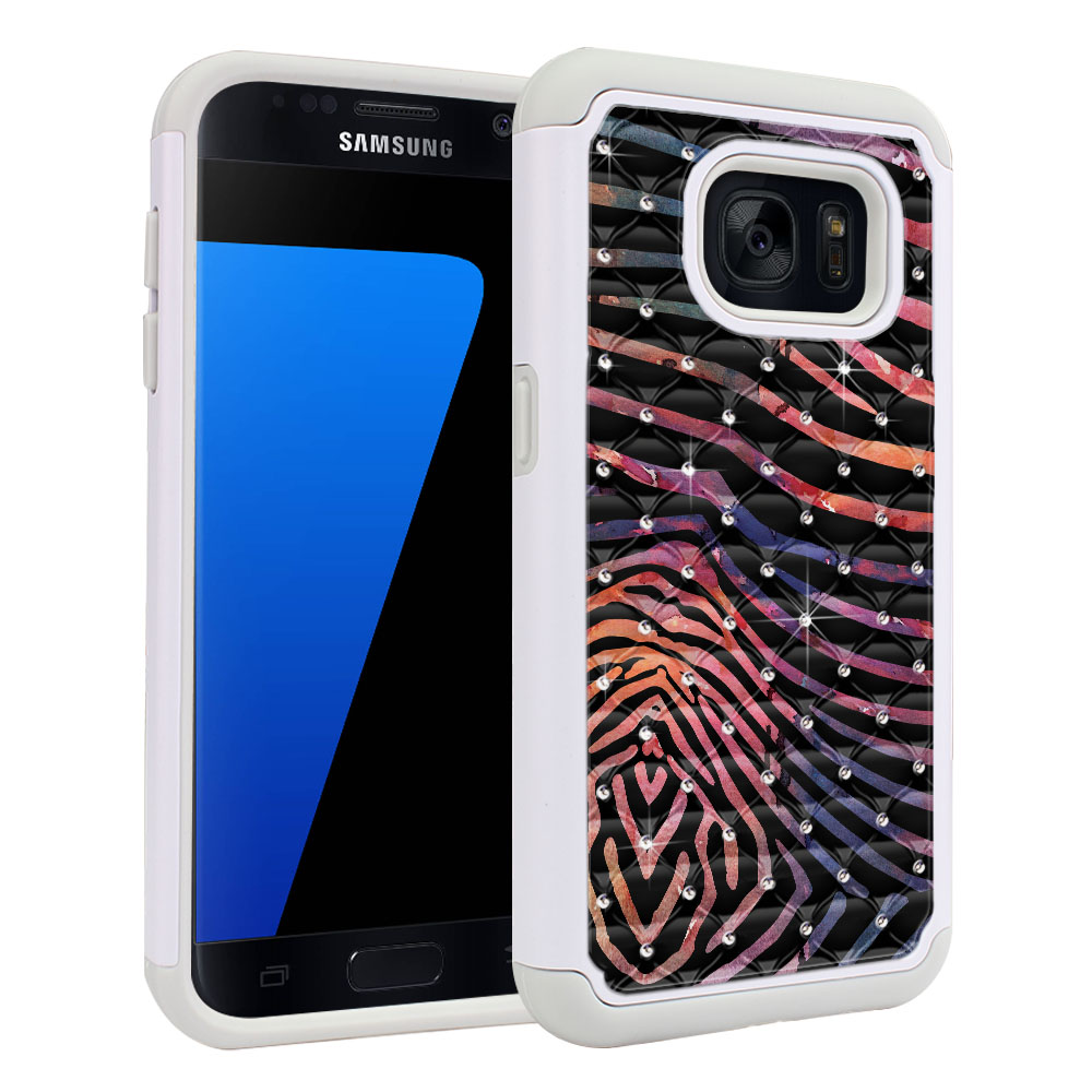 Samsung Galaxy S7 G930 Hybrid Total Defense Some Rhinestones Zebra Stripes Dusk Protector Cover Case