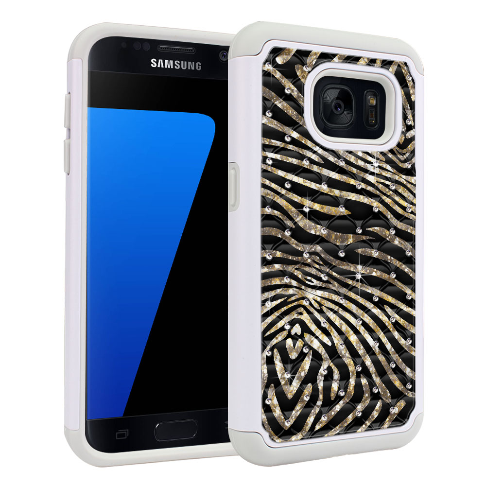 Samsung Galaxy S7 G930 Hybrid Total Defense Some Rhinestones Zebra Stripes Gold Protector Cover Case