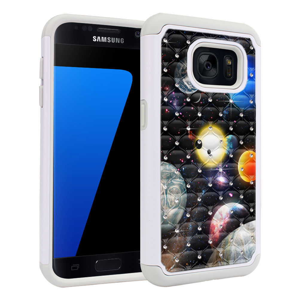 Samsung Galaxy S7 G930 Hybrid Total Defense Some Rhinestones Planet Solar System 2 Protector Cover Case