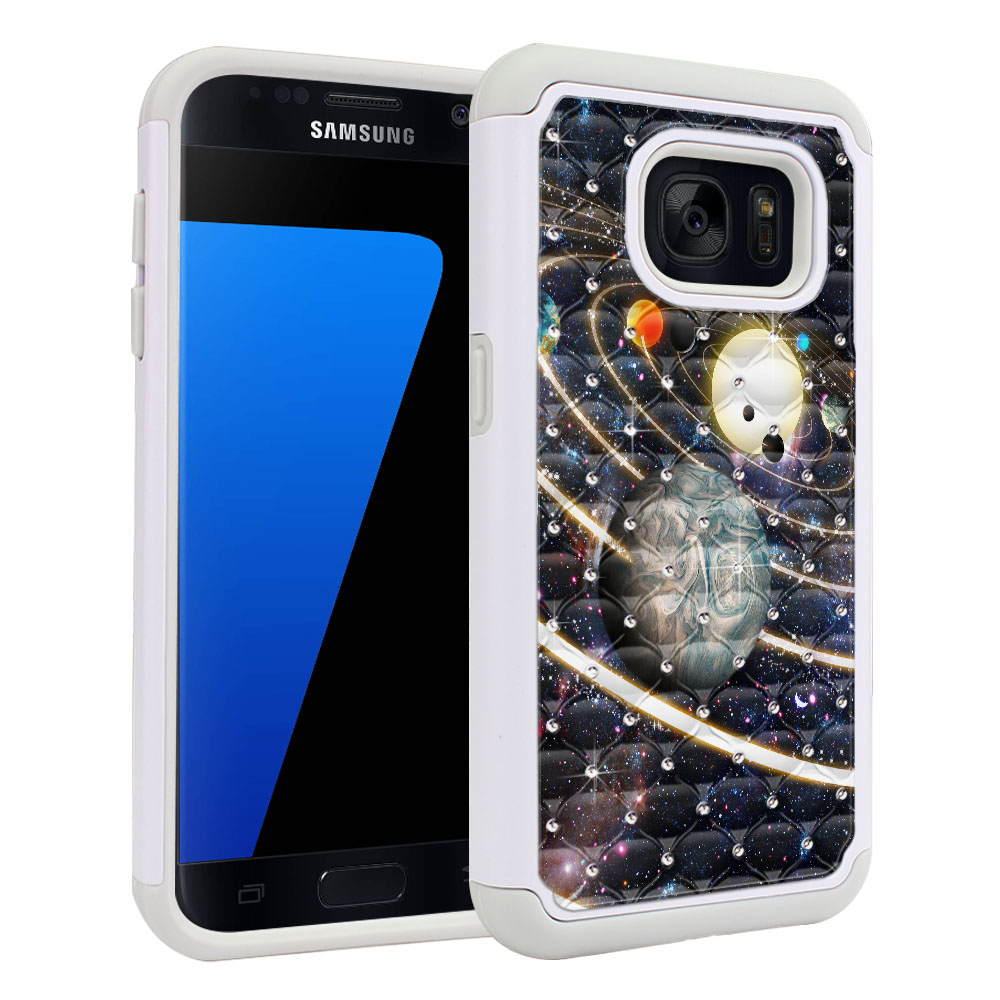 Samsung Galaxy S7 G930 Hybrid Total Defense Some Rhinestones Rings of Solar System Protector Cover Case