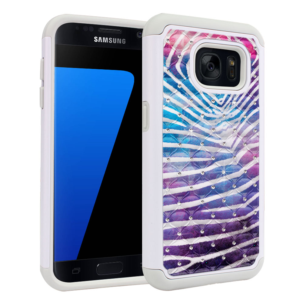 Samsung Galaxy S7 G930 Hybrid Total Defense Some Rhinestones Zebra Stripes White Protector Cover Case