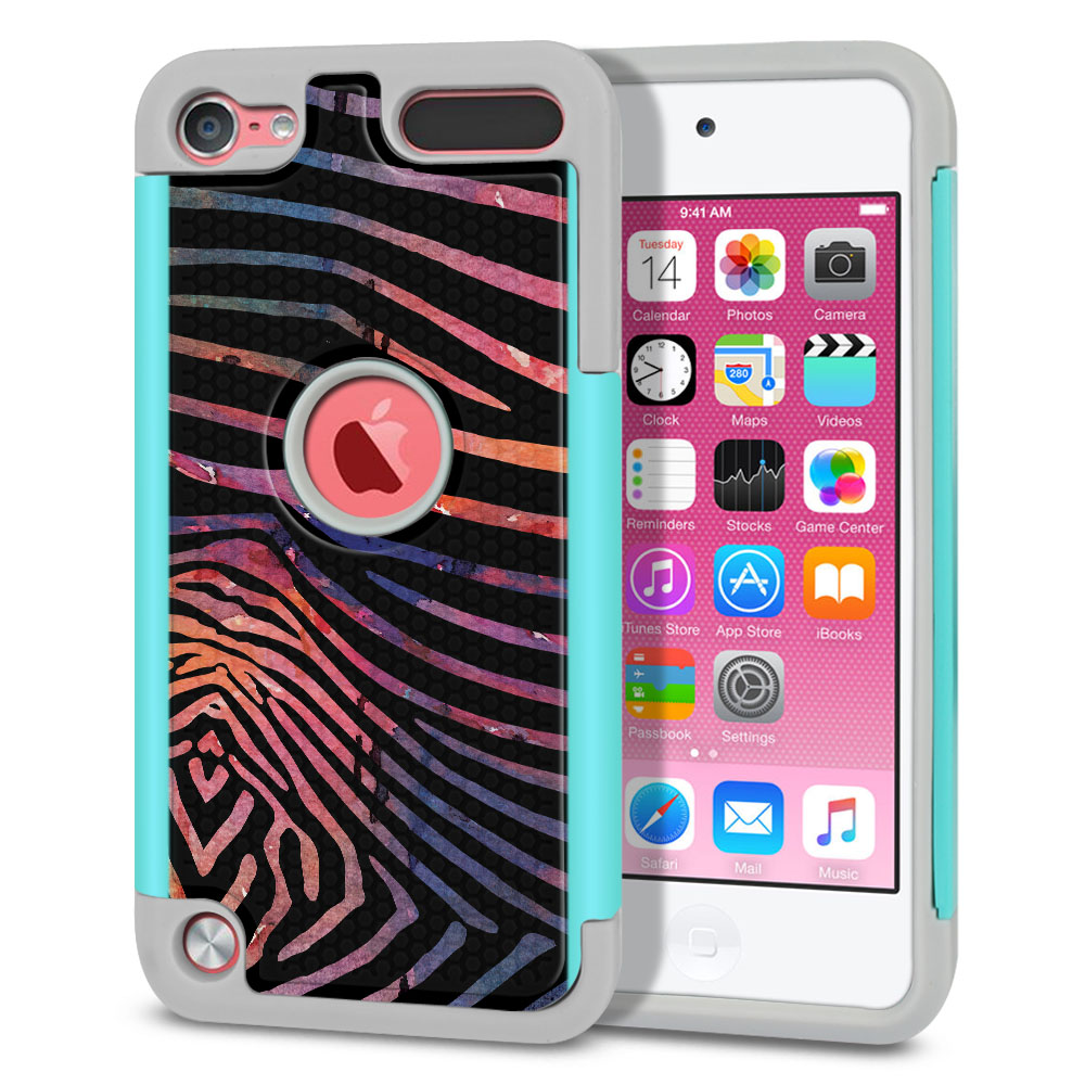 Apple iPod Touch 6 (6th Generation) Texture Hybrid Zebra Stripes Dusk Protector Cover Case