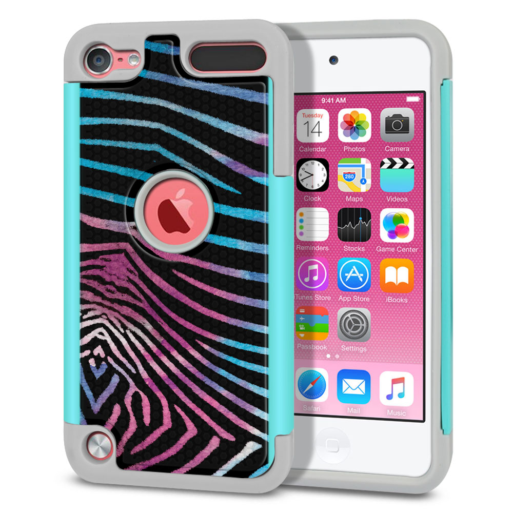 Apple iPod Touch 6 (6th Generation) Texture Hybrid Zebra Stripes Black Protector Cover Case