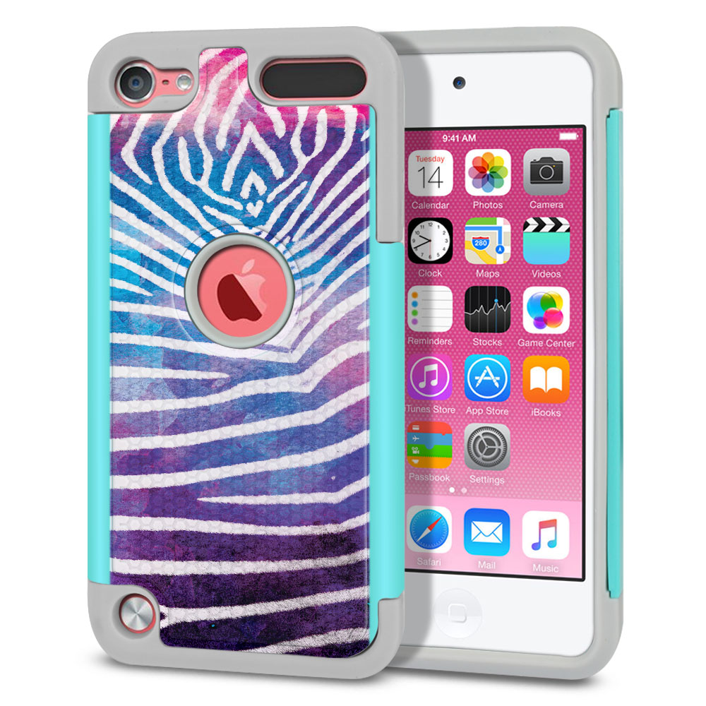 Apple iPod Touch 6 (6th Generation) Texture Hybrid Zebra Stripes White Protector Cover Case