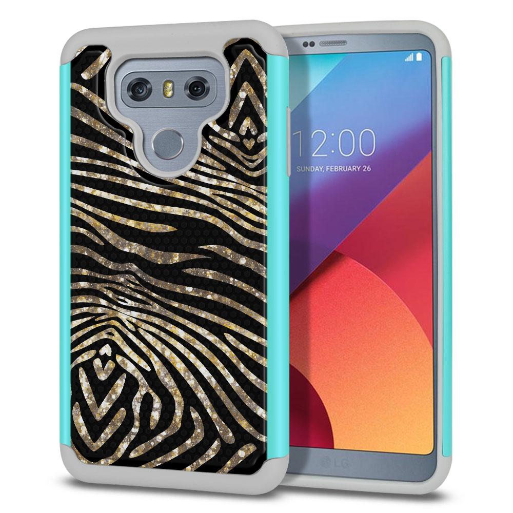 LG G6 H870 Texture Hybrid Zebra Stripes Gold Protector Cover Case