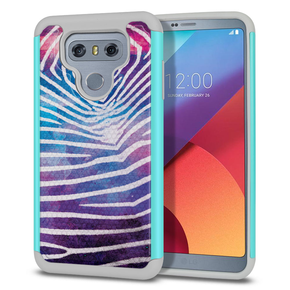 LG G6 H870 Texture Hybrid Zebra Stripes White Protector Cover Case