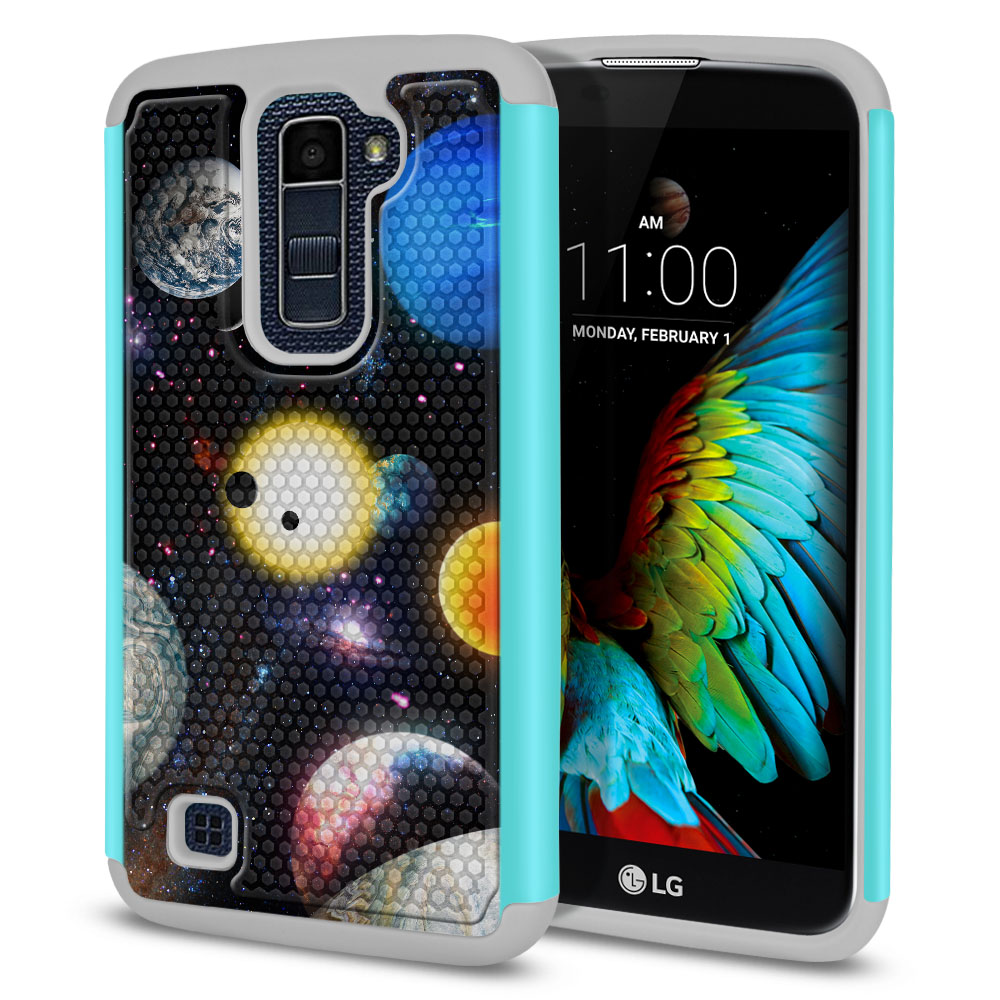 LG K10 Premier LTE L62VL L61AL K428 K430 K420 K420N Texture Hybrid Planet Solar System 2 Protector Cover Case