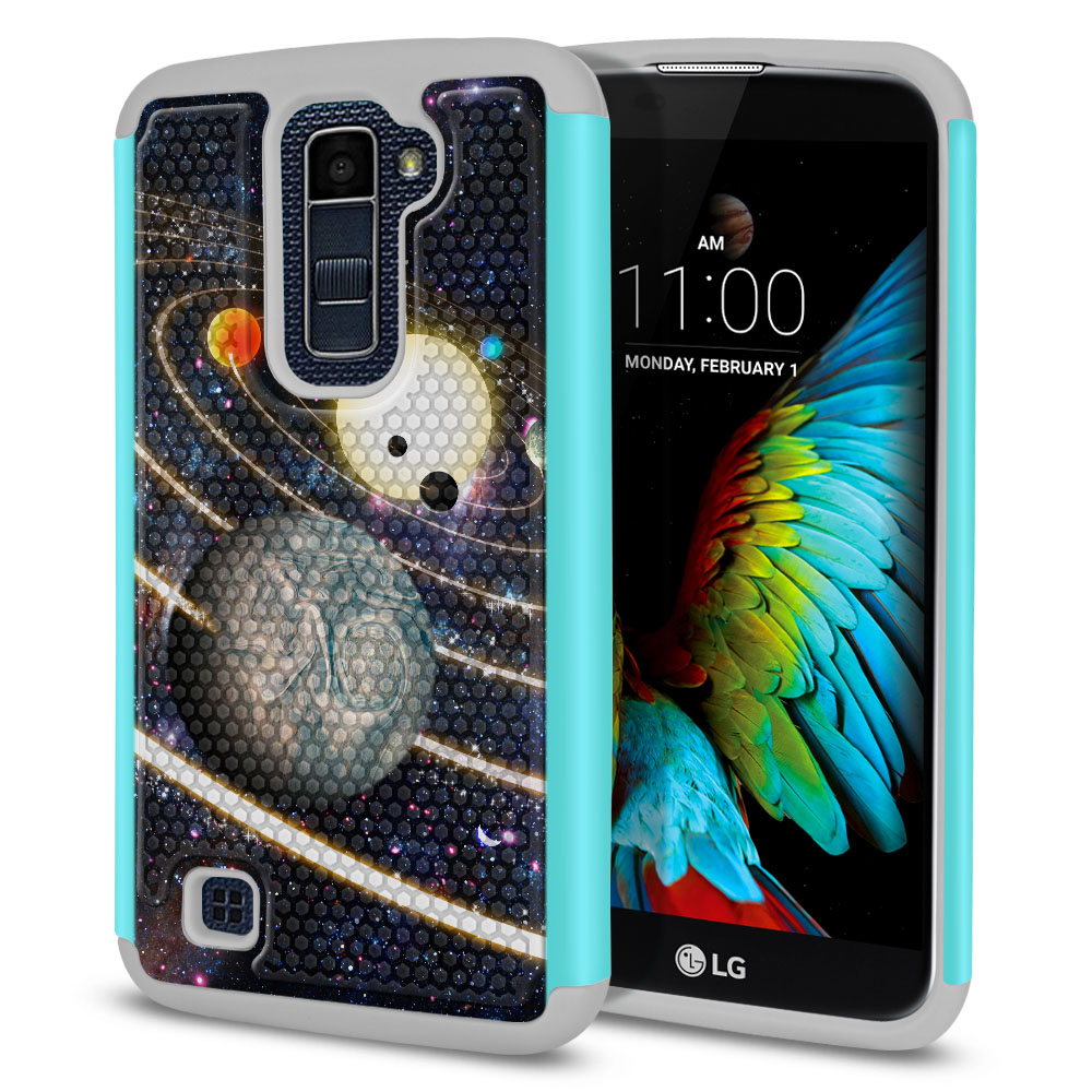 LG K10 Premier LTE L62VL L61AL K428 K430 K420 K420N Texture Hybrid Rings of Solar System Protector Cover Case