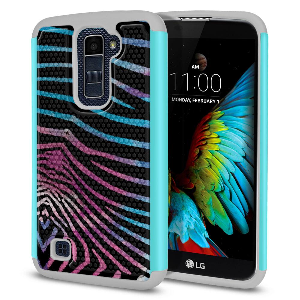 LG K10 Premier LTE L62VL L61AL K428 K430 K420 K420N Texture Hybrid Zebra Stripes Black Protector Cover Case
