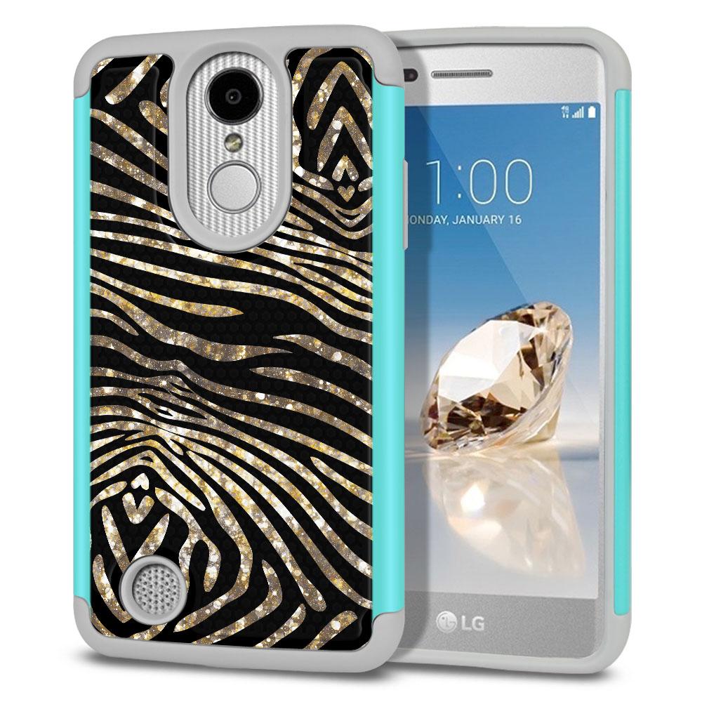 LG Aristo MS210 LV3 K8 (2017)/ Phoenix 3 M150 Texture Hybrid Zebra Stripes Gold Protector Cover Case