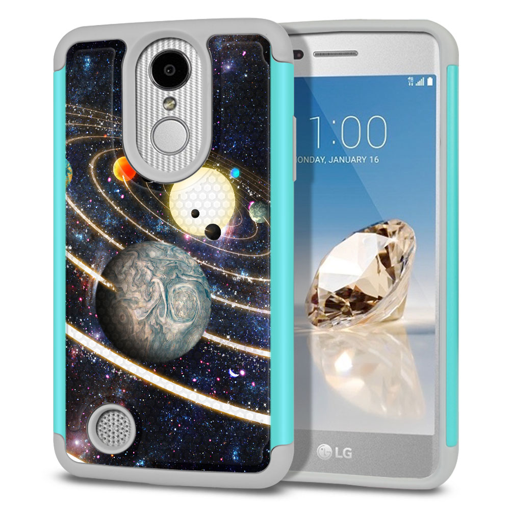 LG Aristo MS210 LV3 K8 (2017)/ Phoenix 3 M150 Texture Hybrid Rings of Solar System Protector Cover Case
