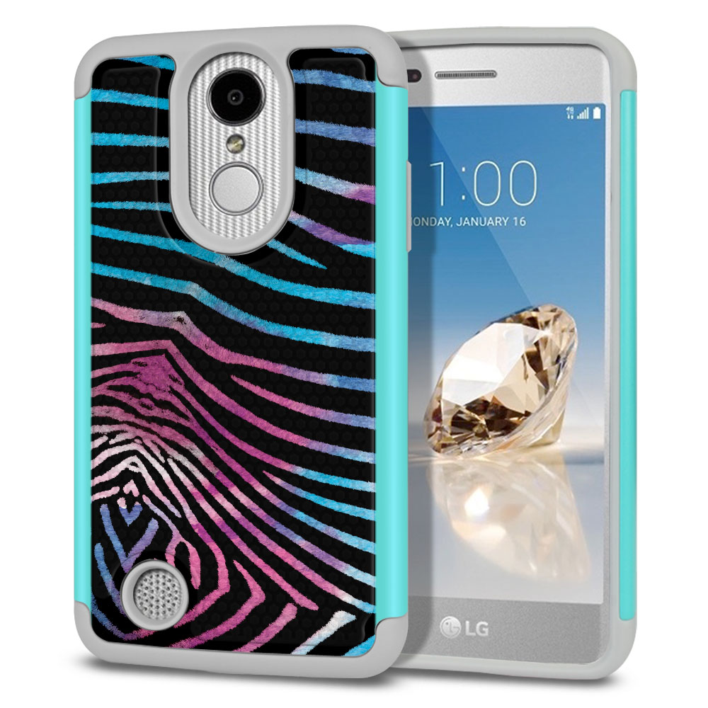 LG Aristo MS210 LV3 K8 (2017)/ Phoenix 3 M150 Texture Hybrid Zebra Stripes Black Protector Cover Case