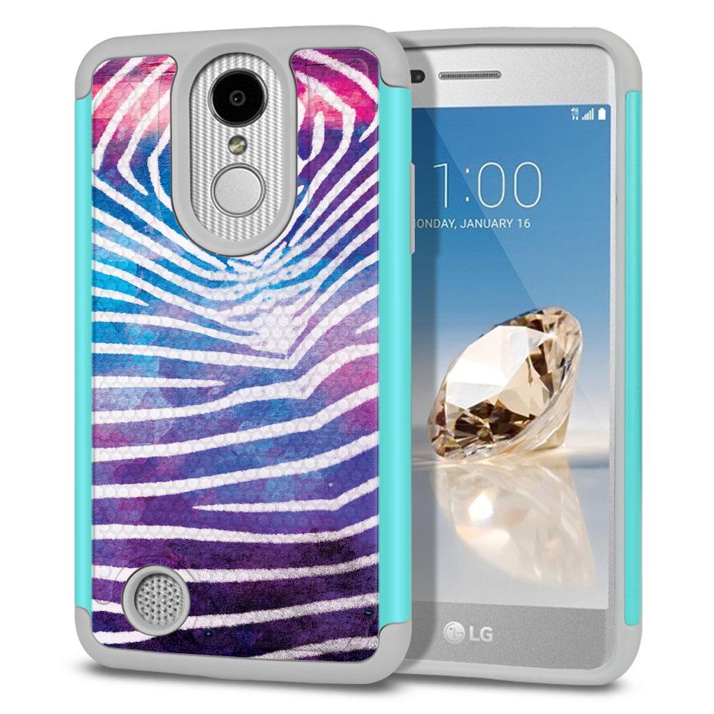 LG Aristo MS210 LV3 K8 (2017)/ Phoenix 3 M150 Texture Hybrid Zebra Stripes White Protector Cover Case