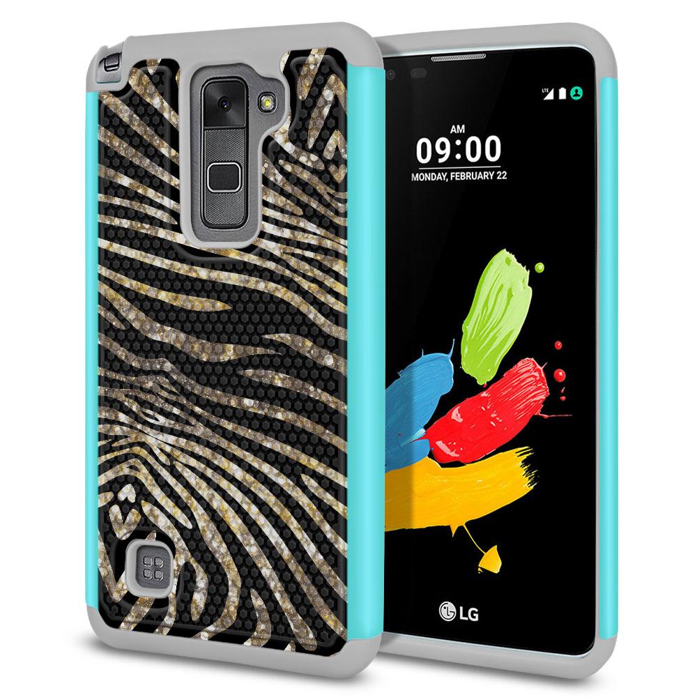 LG Stylus 2 LS775 K520 Stylo 2 Texture Hybrid Zebra Stripes Gold Protector Cover Case