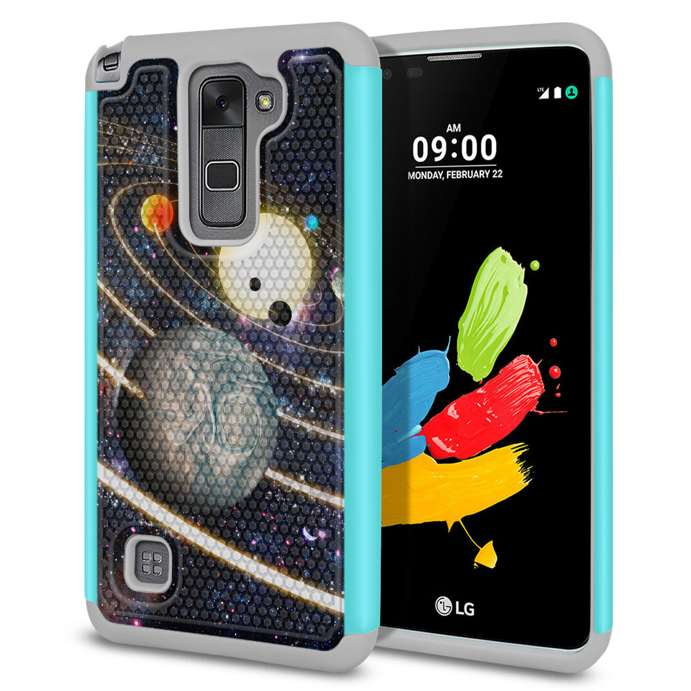 LG Stylus 2 LS775 K520 Stylo 2 Texture Hybrid Rings of Solar System Protector Cover Case