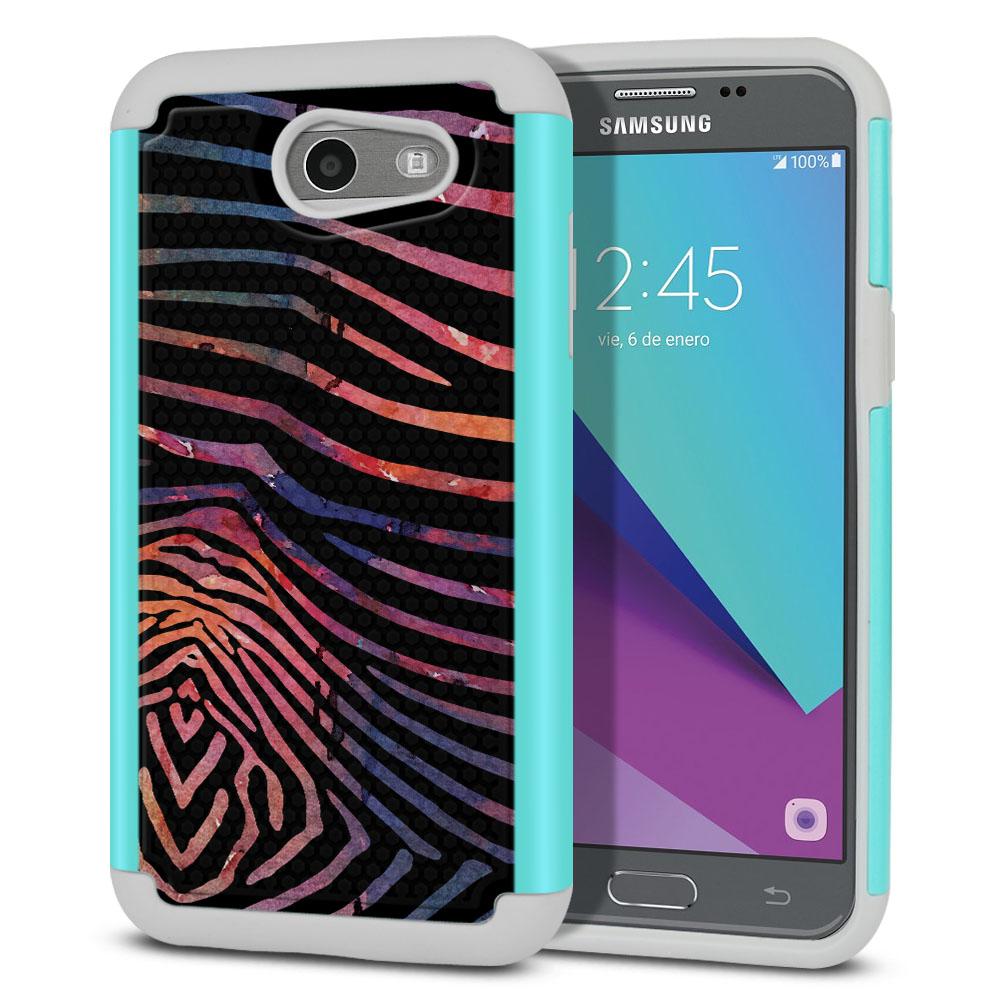 Samsung Galaxy J3 Emerge J327 2017 2nd Gen Texture Hybrid Zebra Stripes Dusk Protector Cover Case