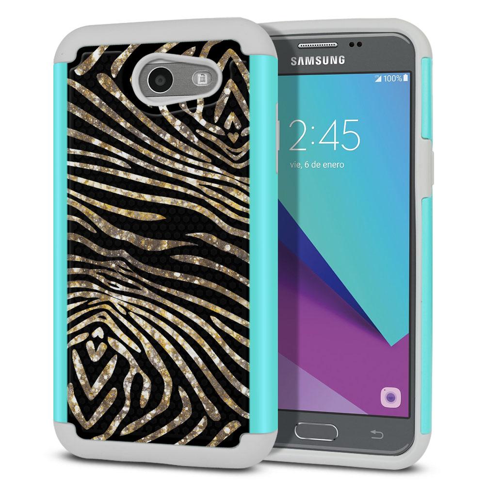 Samsung Galaxy J3 Emerge J327 2017 2nd Gen Texture Hybrid Zebra Stripes Gold Protector Cover Case