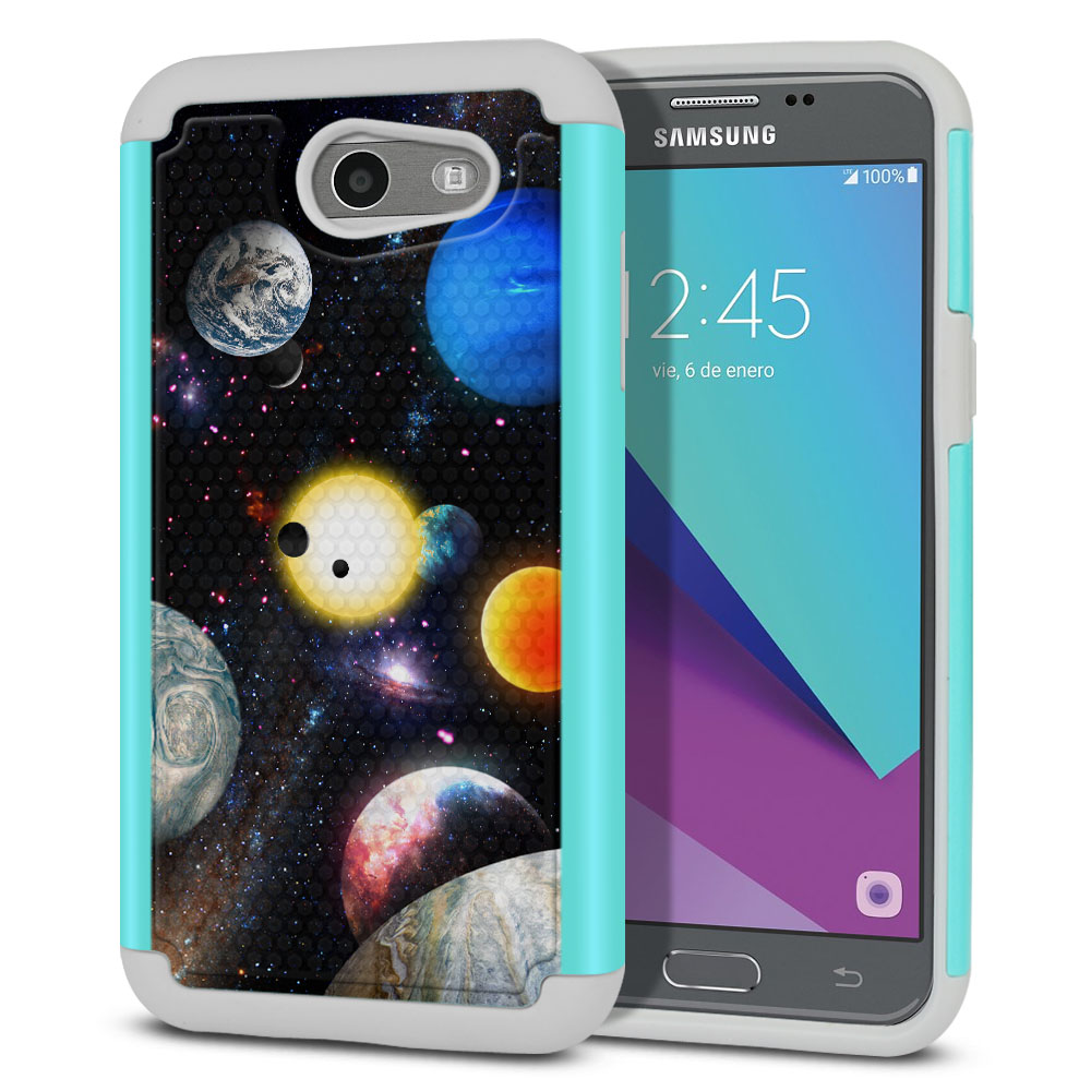Samsung Galaxy J3 Emerge J327 2017 2nd Gen Texture Hybrid Planet Solar System 2 Protector Cover Case