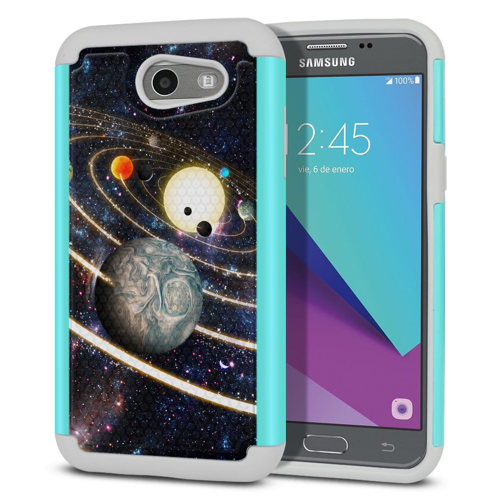 Samsung Galaxy J3 Emerge J327 2017 2nd Gen Texture Hybrid Rings of Solar System Protector Cover Case