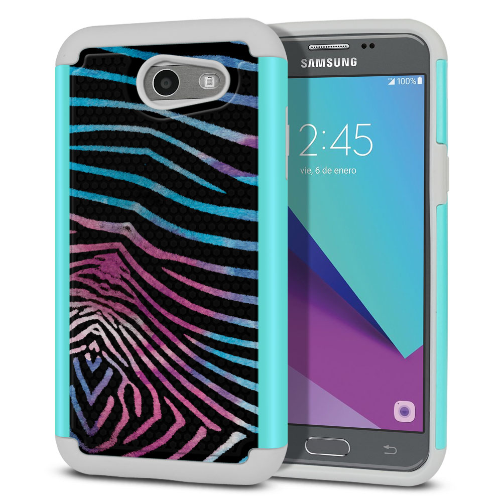Samsung Galaxy J3 Emerge J327 2017 2nd Gen Texture Hybrid Zebra Stripes Black Protector Cover Case