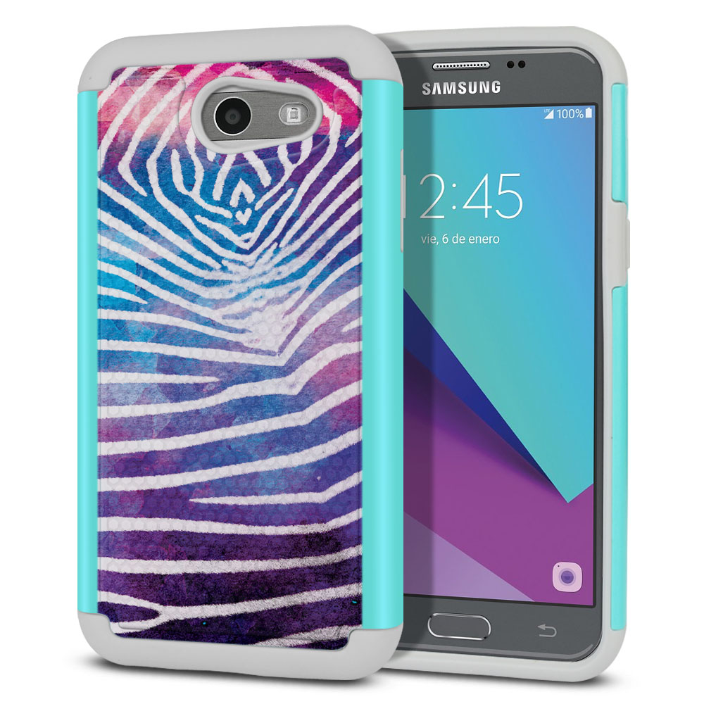 Samsung Galaxy J3 Emerge J327 2017 2nd Gen Texture Hybrid Zebra Stripes White Protector Cover Case