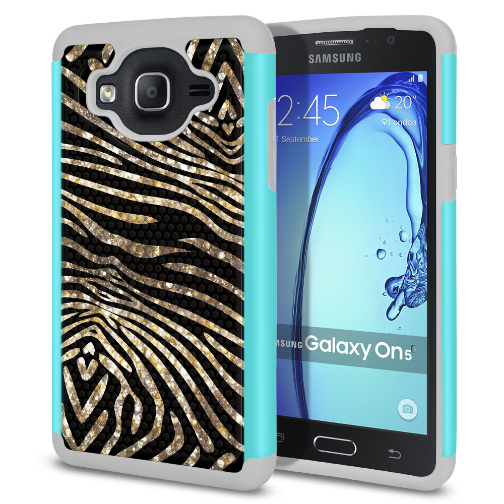 Samsung Galaxy On5 G550 G500 Texture Hybrid Zebra Stripes Gold Protector Cover Case