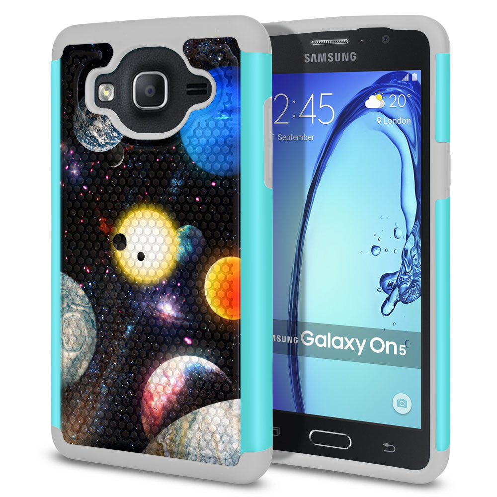 Samsung Galaxy On5 G550 G500 Texture Hybrid Planet Solar System 2 Protector Cover Case