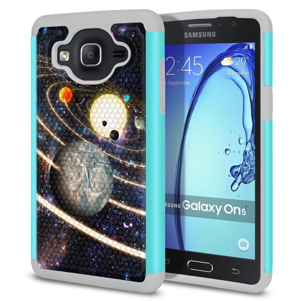 Samsung Galaxy On5 G550 G500 Texture Hybrid Rings of Solar System Protector Cover Case