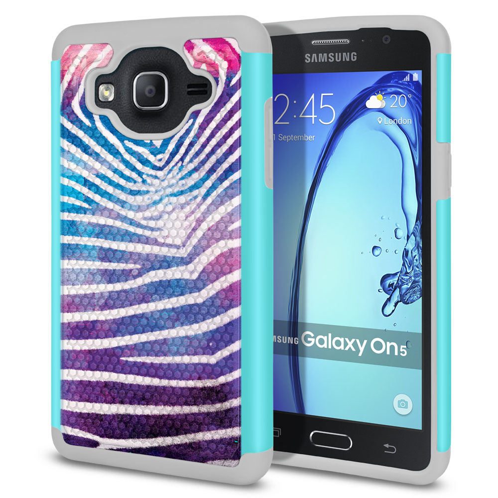 Samsung Galaxy On5 G550 G500 Texture Hybrid Zebra Stripes White Protector Cover Case