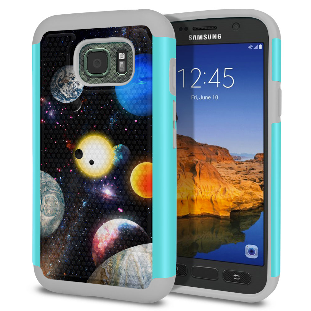 Samsung Galaxy S7 Active G891 Texture Hybrid Planet Solar System 2 Protector Cover Case