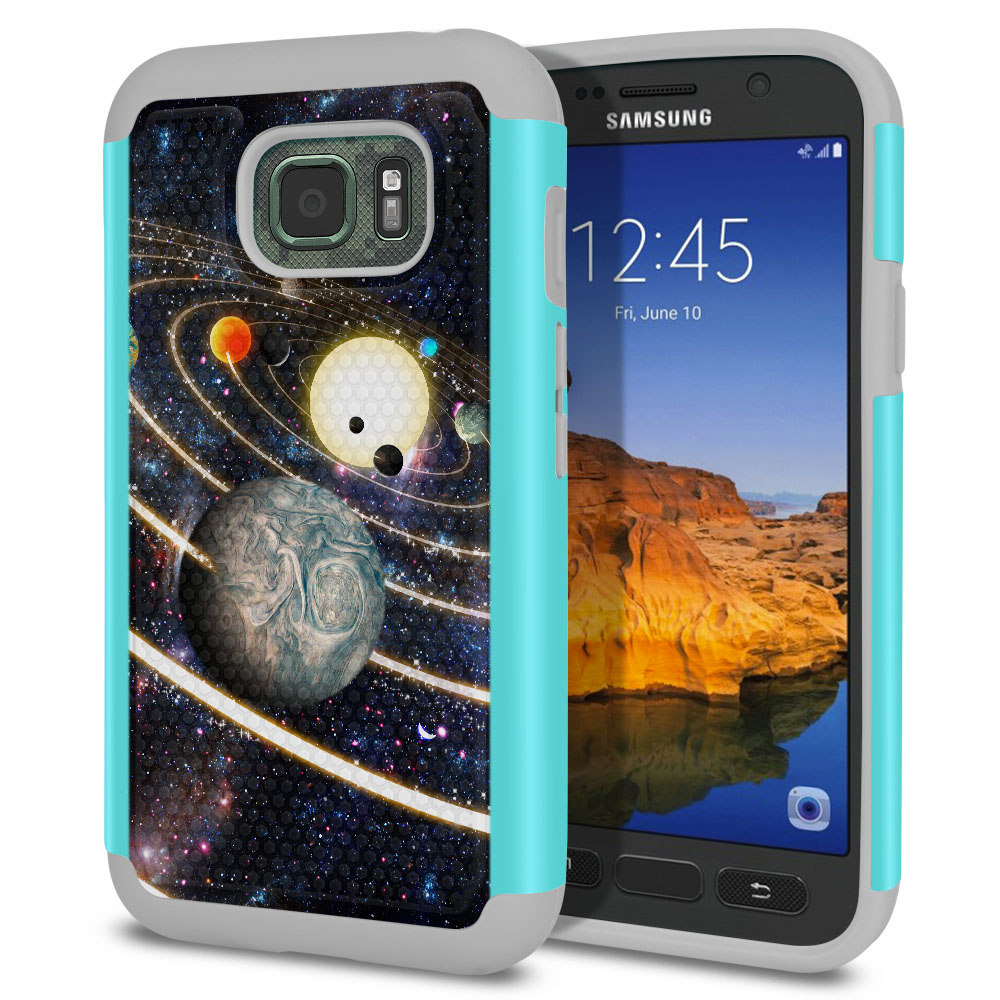 Samsung Galaxy S7 Active G891 Texture Hybrid Rings of Solar System Protector Cover Case