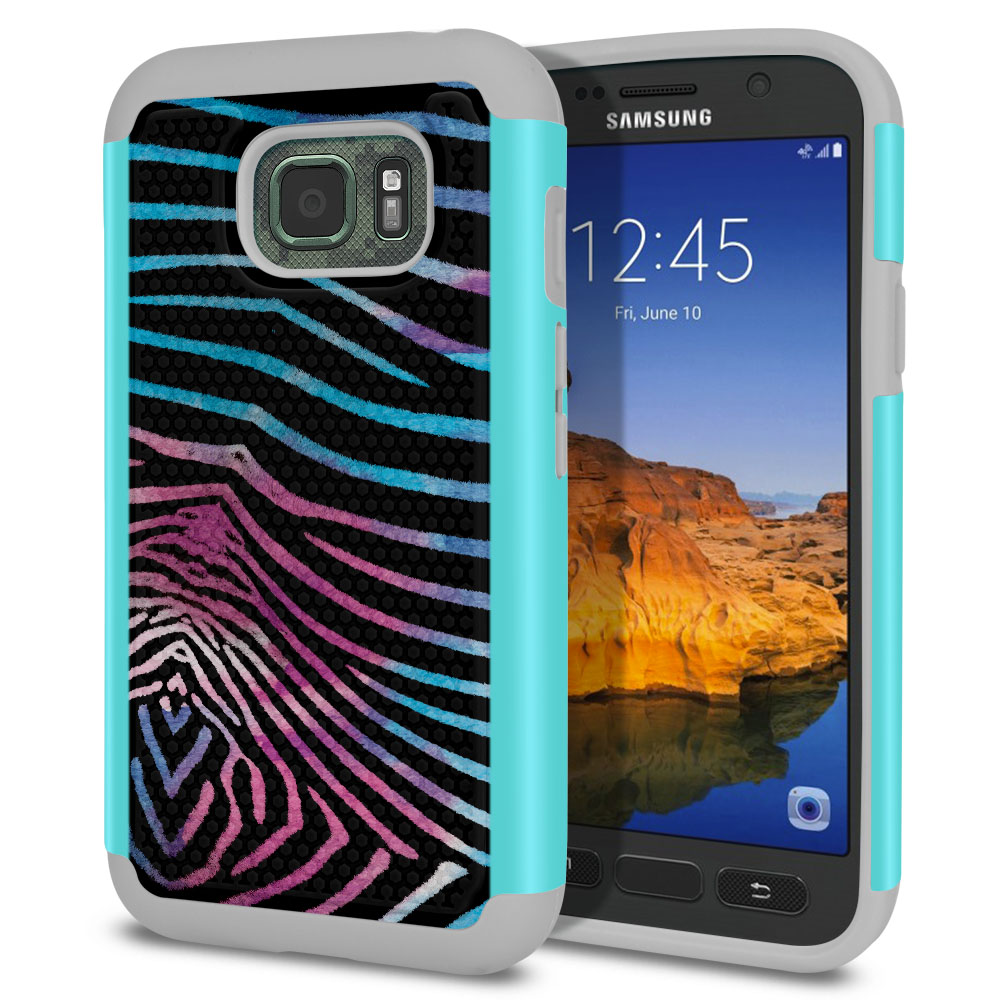 Samsung Galaxy S7 Active G891 Texture Hybrid Zebra Stripes Black Protector Cover Case