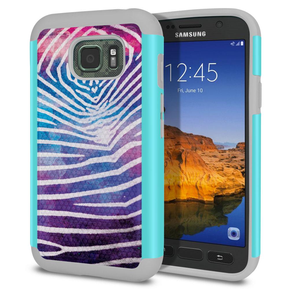 Samsung Galaxy S7 Active G891 Texture Hybrid Zebra Stripes White Protector Cover Case
