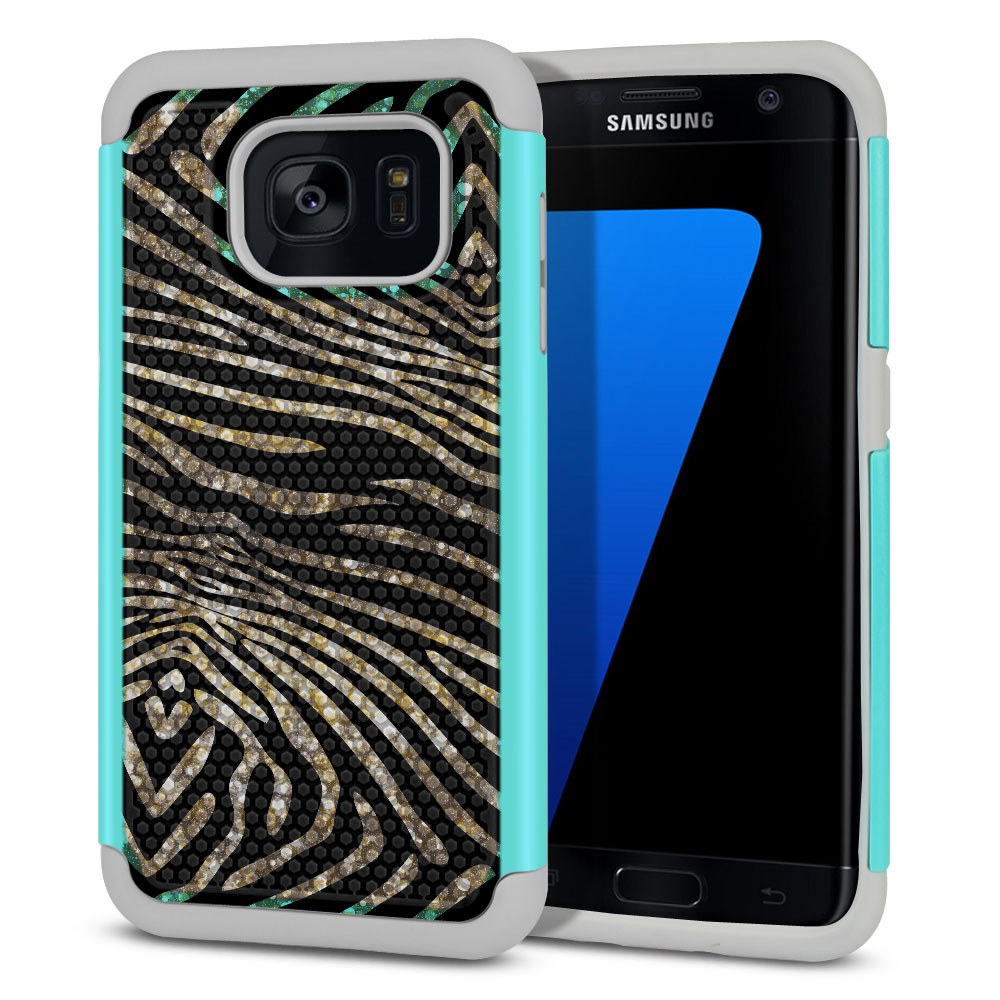 Samsung Galaxy S7 Edge G935 Texture Hybrid Zebra Stripes Gold Protector Cover Case