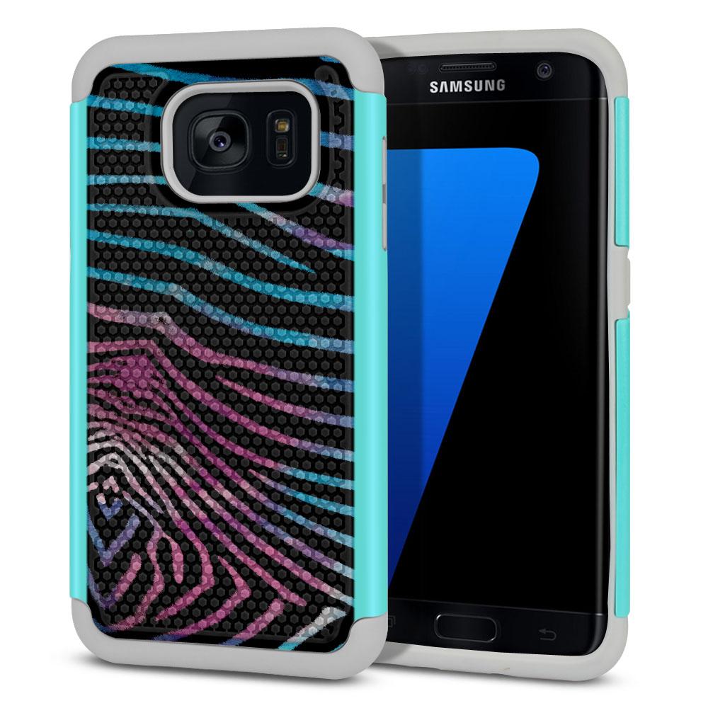 Samsung Galaxy S7 Edge G935 Texture Hybrid Zebra Stripes Black Protector Cover Case