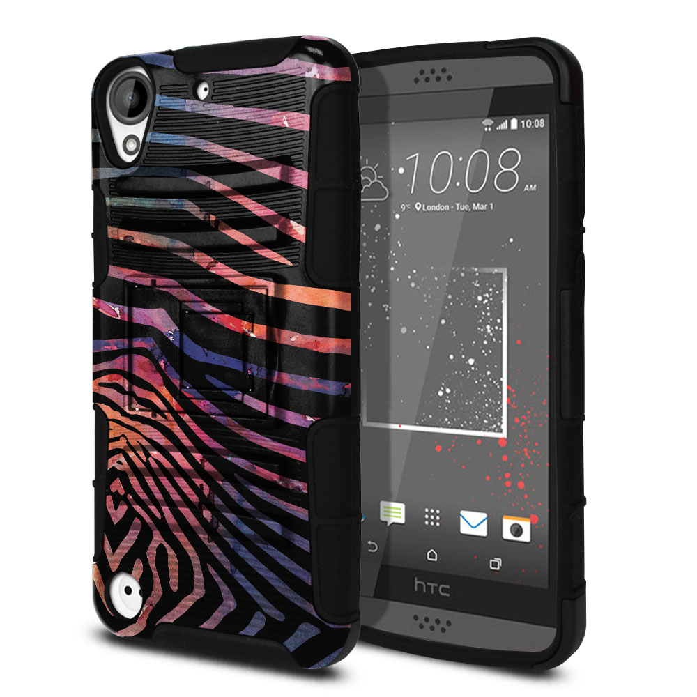 HTC Desire 530 630 Hybrid Rigid Stand Zebra Stripes Dusk Protector Cover Case