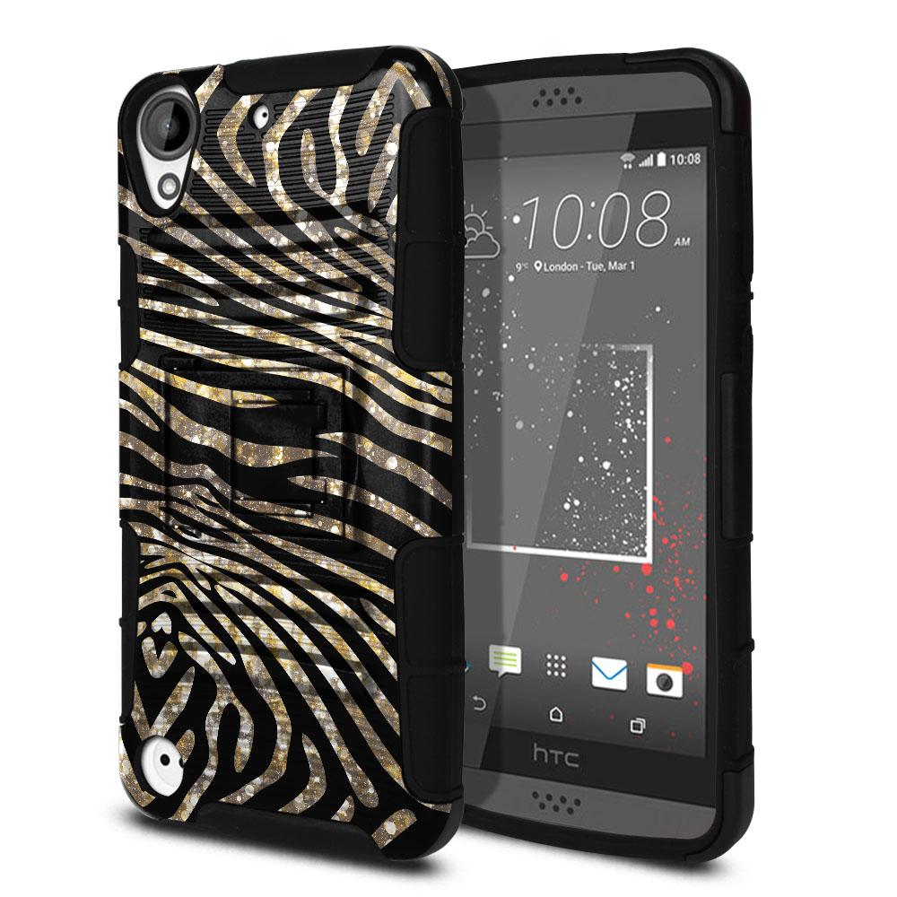 HTC Desire 530 630 Hybrid Rigid Stand Zebra Stripes Gold Protector Cover Case