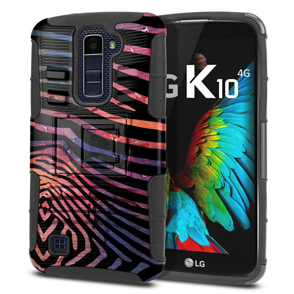 LG K10 Premier LTE L62VL L61AL K428 K430 K420 K420N Hybrid Rigid Stand Zebra Stripes Dusk Protector Cover Case