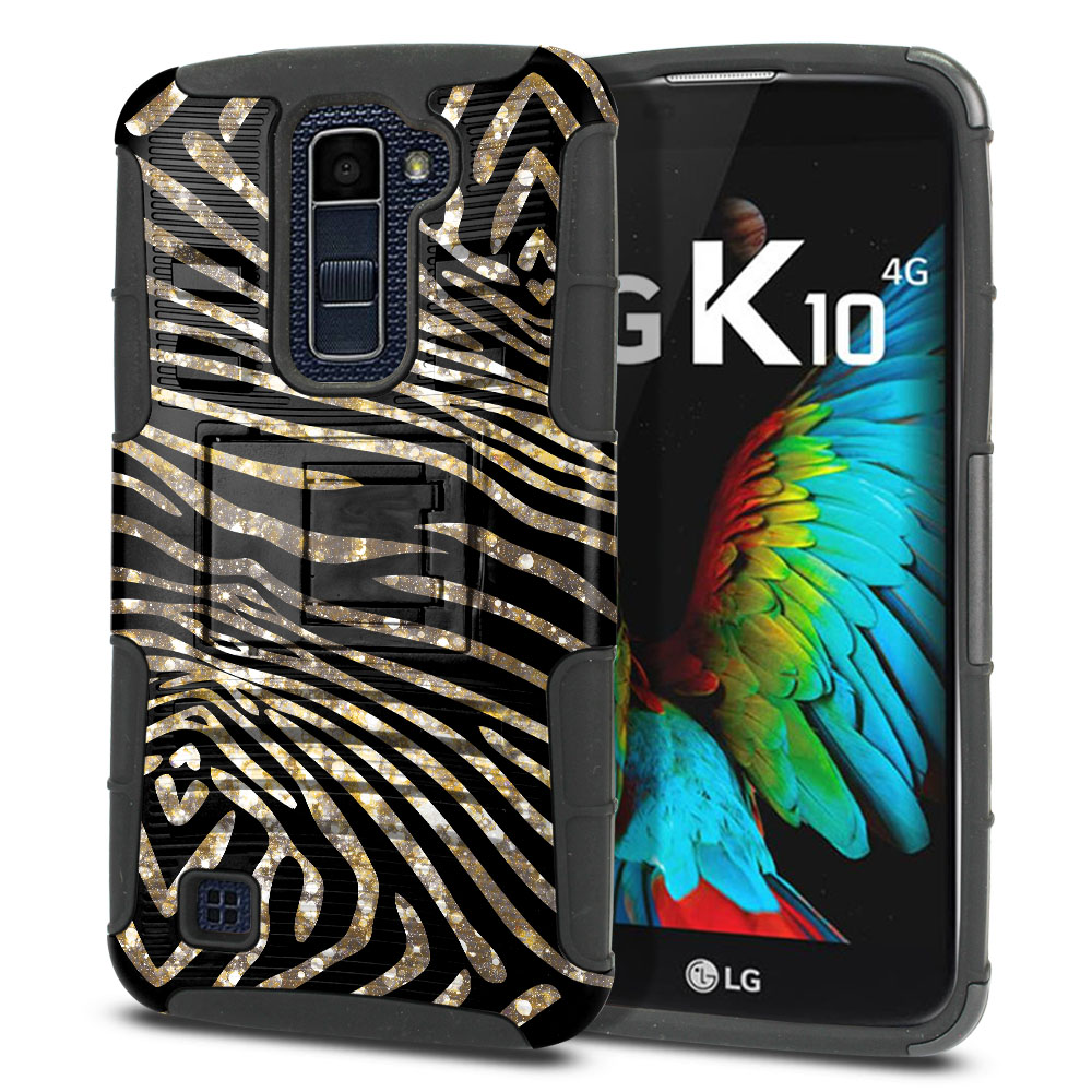 LG K10 Premier LTE L62VL L61AL K428 K430 K420 K420N Hybrid Rigid Stand Zebra Stripes Gold Protector Cover Case