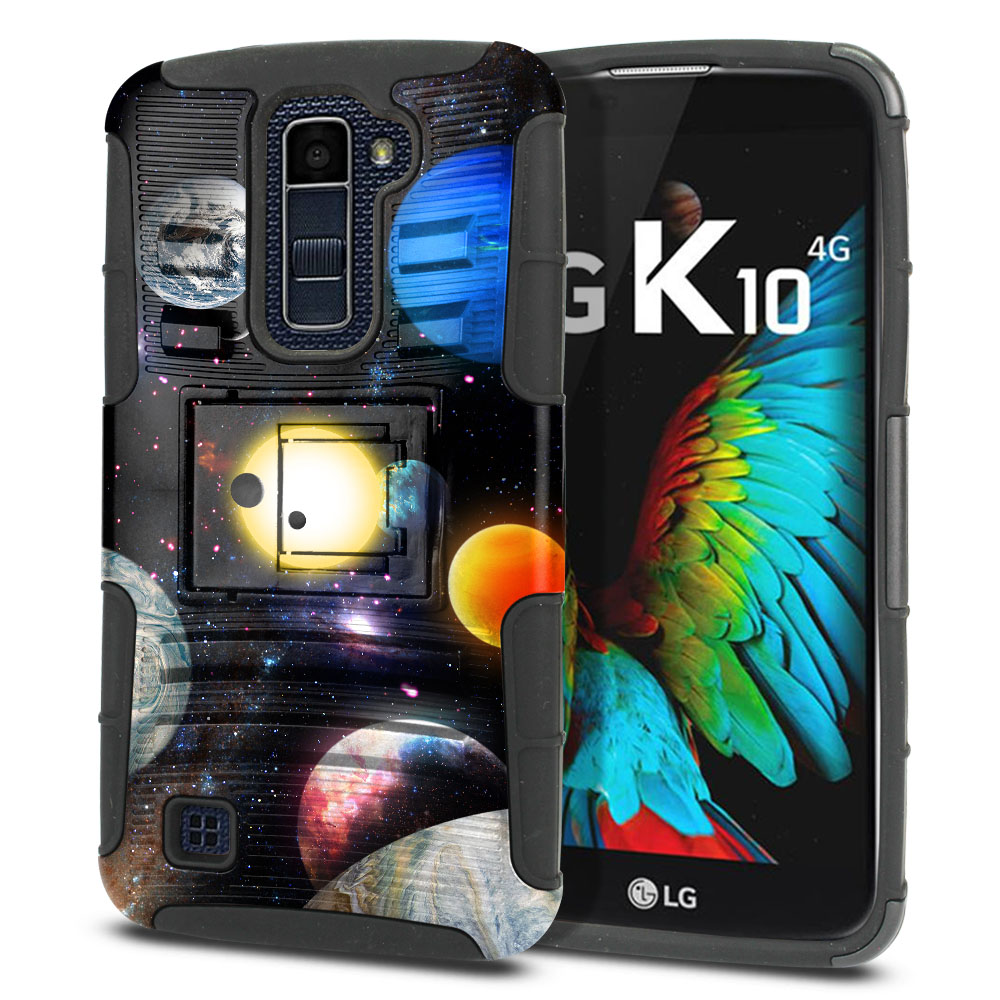 LG K10 Premier LTE L62VL L61AL K428 K430 K420 K420N Hybrid Rigid Stand Planet Solar System 2 Protector Cover Case