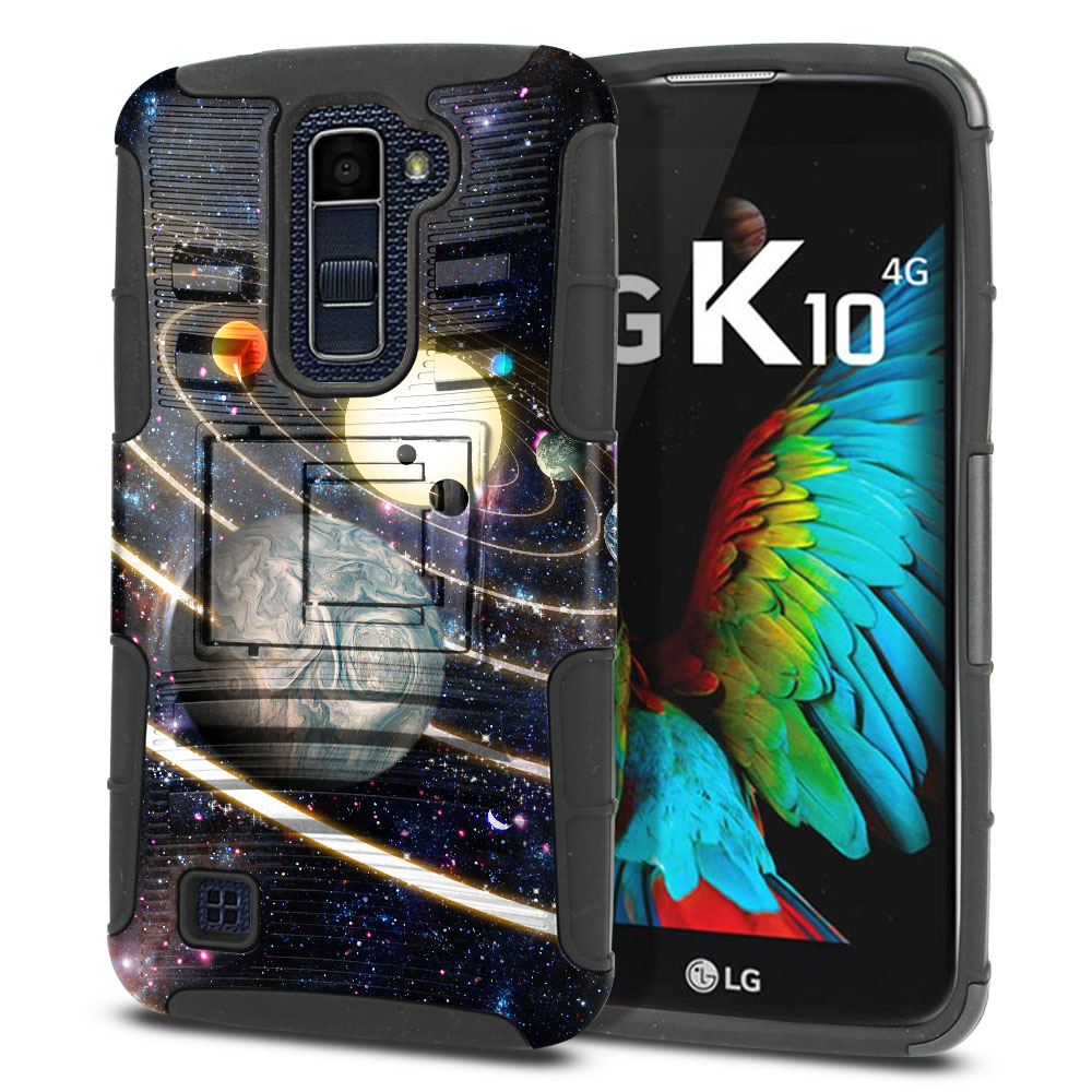 LG K10 Premier LTE L62VL L61AL K428 K430 K420 K420N Hybrid Rigid Stand Rings of Solar System Protector Cover Case