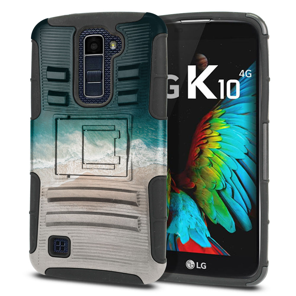 LG K10 Premier LTE L62VL L61AL K428 K430 K420 K420N Hybrid Rigid Stand Sandy Beach Protector Cover Case
