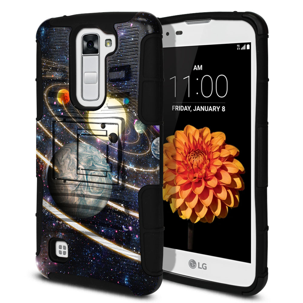 LG K7 Tribute 5 LS675 MS330 M1 Hybrid Rigid Stand Rings of Solar System Protector Cover Case