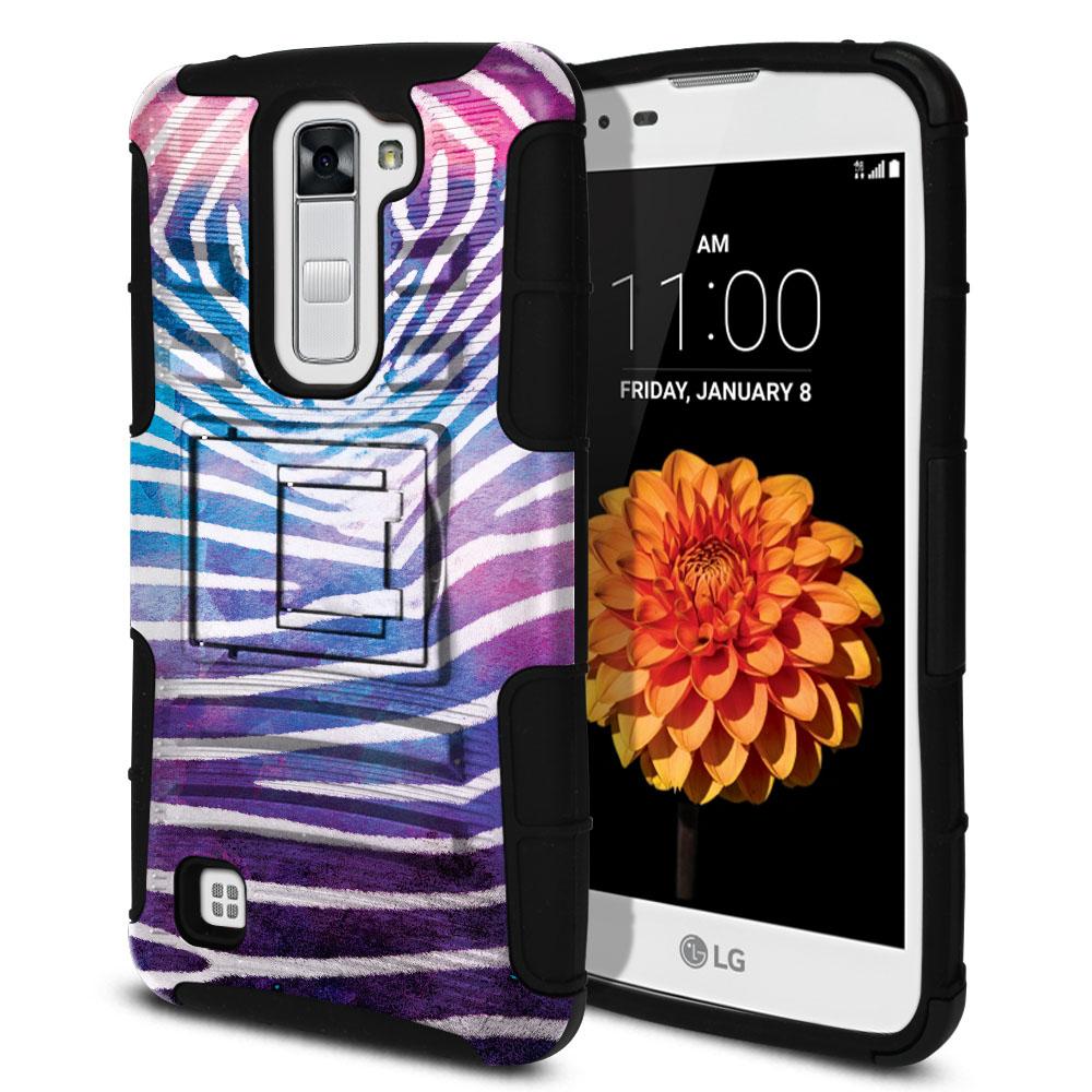 LG K7 Tribute 5 LS675 MS330 M1 Hybrid Rigid Stand Zebra Stripes White Protector Cover Case