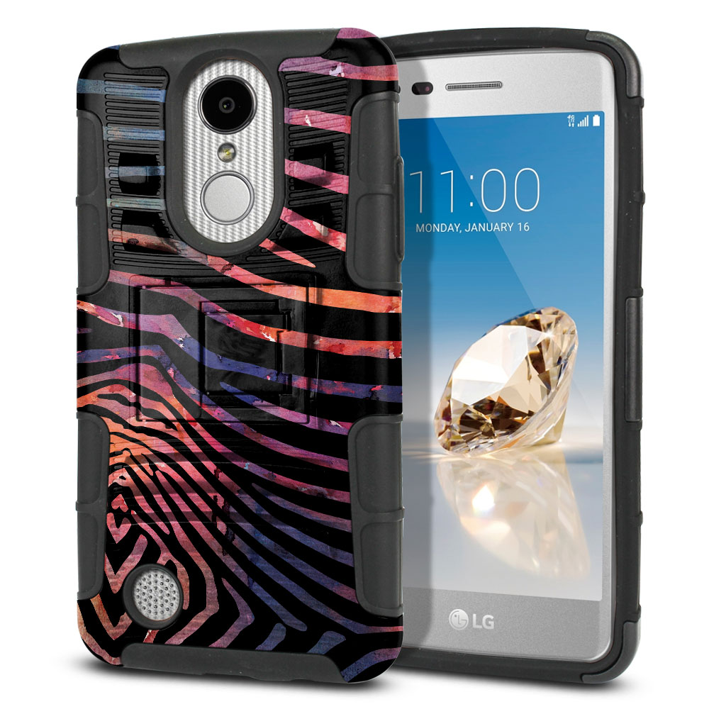 LG Aristo MS210 LV3 K8 (2017)/ Phoenix 3 M150 Hybrid Rigid Stand Zebra Stripes Dusk Protector Cover Case