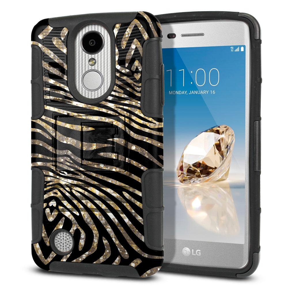 LG Aristo MS210 LV3 K8 (2017)/ Phoenix 3 M150 Hybrid Rigid Stand Zebra Stripes Gold Protector Cover Case