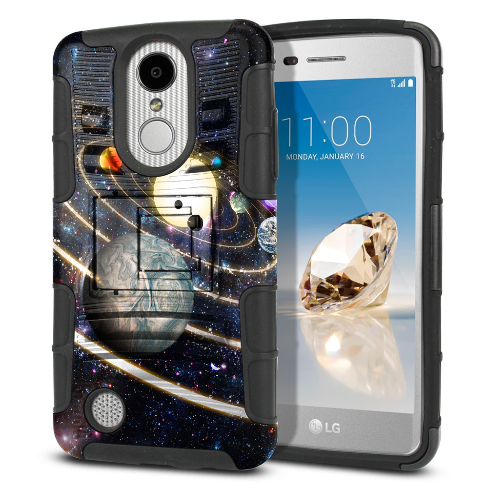 LG Aristo MS210 LV3 K8 (2017)/ Phoenix 3 M150 Hybrid Rigid Stand Rings of Solar System Protector Cover Case