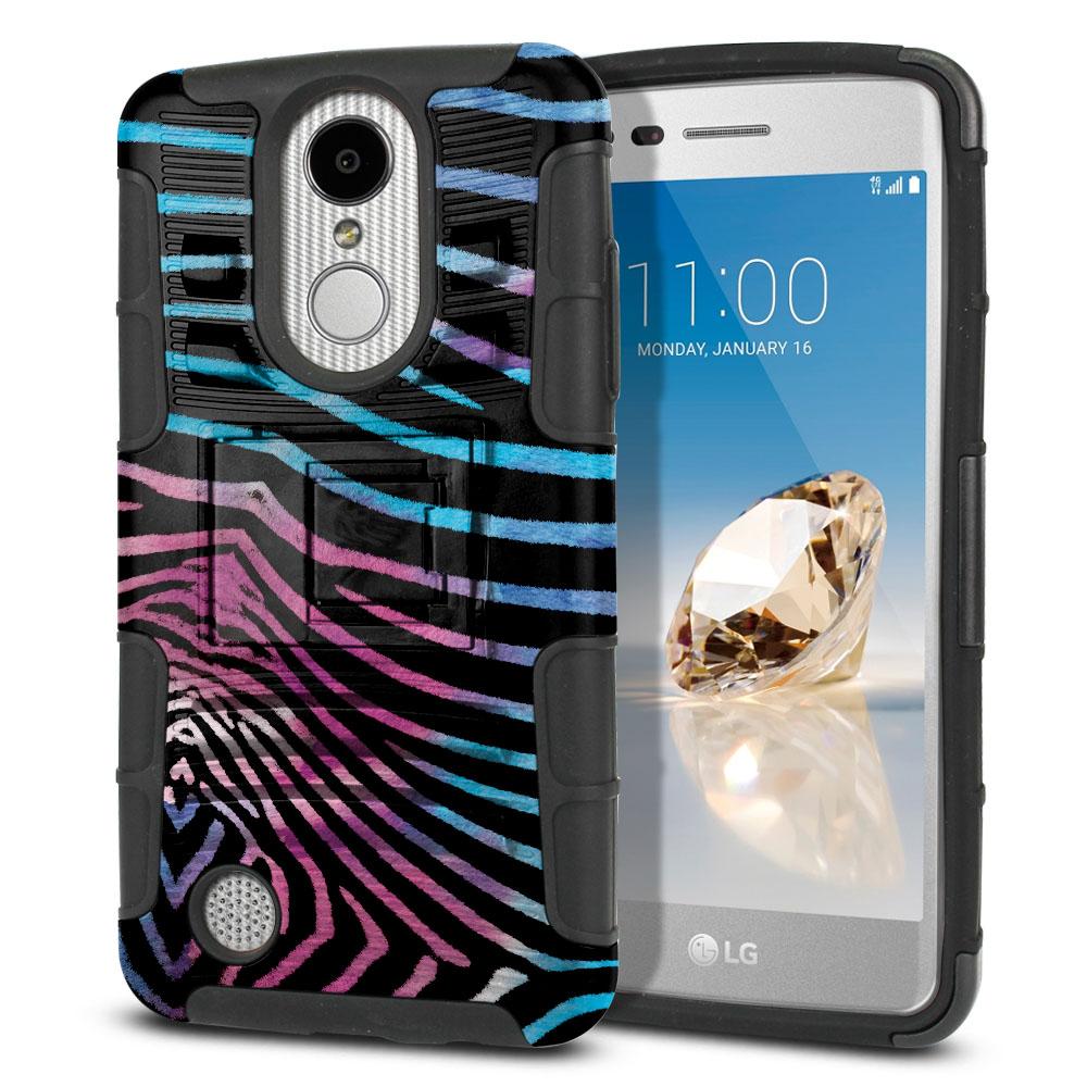LG Aristo MS210 LV3 K8 (2017)/ Phoenix 3 M150 Hybrid Rigid Stand Zebra Stripes Black Protector Cover Case