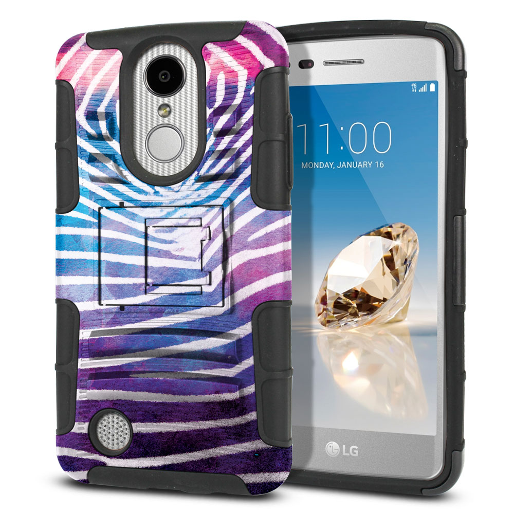 LG Aristo MS210 LV3 K8 (2017)/ Phoenix 3 M150 Hybrid Rigid Stand Zebra Stripes White Protector Cover Case